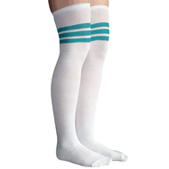white and teal striped thigh highs