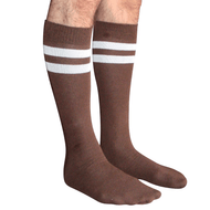 brown mens socks with white stripes