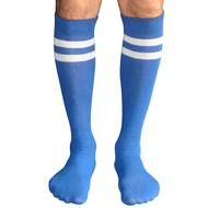 mens striped tube socks (royal/white)