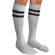 mens striped tube socks gray/black