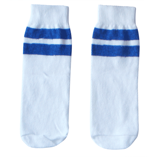 white tube socks with royal blue socks (kids)