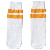 white and tangerine striped kids socks