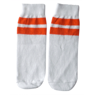 white and orange striped kids socks