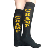 black/gold champ socks