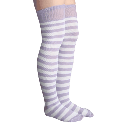lilac striped over the knee socks