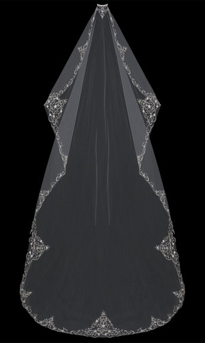Mantilla-Cut Cathedral Bridal Veil