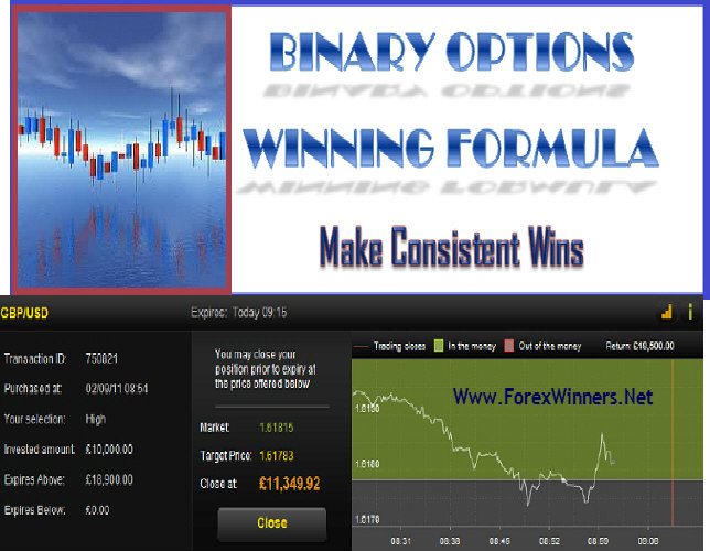 Binary option pricing formula