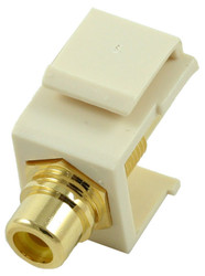 Almond RCA Modular Keystone Jack with Yellow Insert (CA-2209-Y-AL)