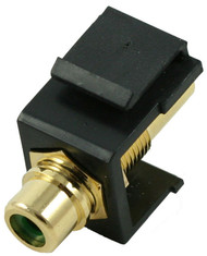 Black RCA Modular Keystone Jack with Green Insert (CA-2209-G-BK)