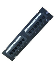12 Port Vertical 110 Type Cat5e Patch Panel (568A/B) w/ Wall Bracket