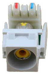 White RCA to 110 IDC Keystone Module w/ Yellow Insert (CA-2140Y-WH)