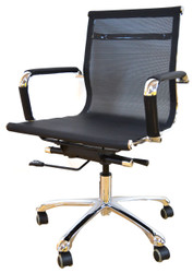LB Chair HT-728B-CP in Black Mesh