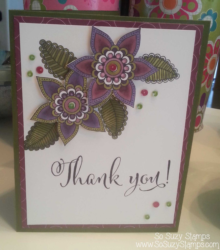 Clematis Doodle Thank You Card