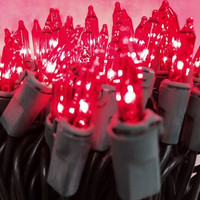 50 Red Mini Lights, Green Wire