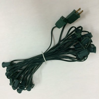 "C7 25 FT Christmas Light String, 12"" Spacing, Green Wire"
