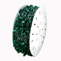 "C7 1000FT Socket Light String Spools, 12"" Spacing Green Wire"