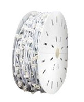 """C7 1000FT Socket Light String Spools, 12"""" Spacing, WHITE WIRE"""