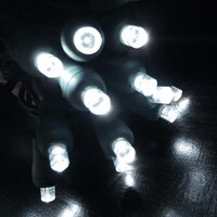 Cool/Pure White LED Wide Angle Mini Light String - Green Wire- 50 Lights/25 Feet