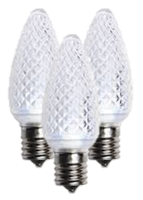 C9 Cool White Faceted LED Christmas Light Bulbs- Box of 25