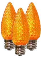 C9 Orange Faceted LED Christmas Light Bulbs- 25 bulbs/box