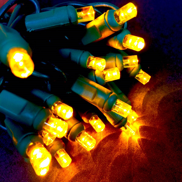 LED Mini Lights, Yellow bulbs with Green Wire