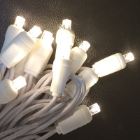 Warm White LED Wide Angle Mini Light String - 50 Lights/25 Feet  WHITE WIRE