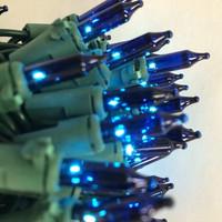 50 Bulbs BLUE MINI LIGHTS, GREEN WIRE