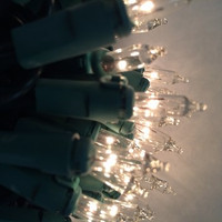 """50 Clear Mini Christmas Lights, 25FT, 6"""" Spacing, Green Wire, **Case of 36**"""
