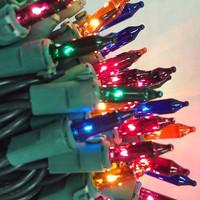 50 Multi Colored Mini Lights on Green Wire