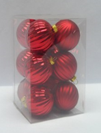 "2"" RED Ribbed Shatterproof Ornaments, set of 12"