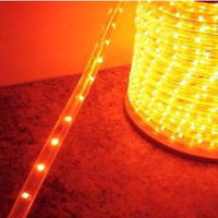 "Orange LED Rope Light, 2 Wire, 1/2"", 150FT Spool"
