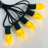 C7 Yellow Faceted LED Bulbs - Box of 25 Replacement Bulbs