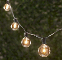 G40 Party Lights W/ Stringer - 25FT Clear bulbs with Green Wire