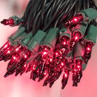 PURPLE MINI LIGHTS, 100 Bulbs, GREEN WIRE- Case of 24 Sets