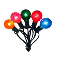G40 Globe Light Stringer, C7 Size - Multi - Set of 25 Bulbs and C7 25FT Green Stringer