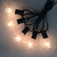 G50 Globe Light, C7 Size - 25FT Stringer with Bulbs Clear Bulbs, Green Wire