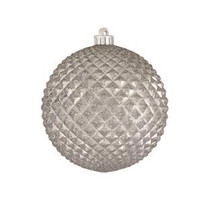 """Durian Silver 4"""" (100mm) Shatterproof Ornaments - Set of 12"""