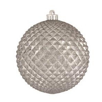 """Durian Silver 5"""" (130mm) Shatterproof Ornaments - Set of 12"""