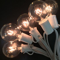 G40 Party Lights W/ Stringer - 25FT Clear bulbs with White Wire