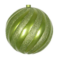 "Lime Green Swirl shatterproof ornament 150mm (6"") size"