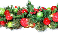 Jolly Decor (Lime Green & Red) Lighted Garland