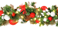 Candy Cane Lighted Garland (Red & Silver)