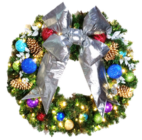 3FT Jewel Tone Wreath With Silver Bow
