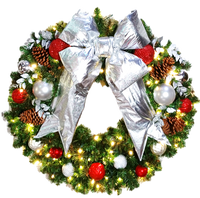 3FT Candy Cane Wreath with Silver Bow