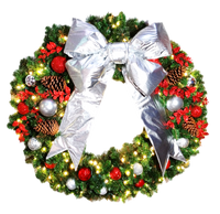 4FT Candy Cane Wreath With Silver Bow