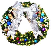 4FT Jewel Tone Wreath with Silver Bow