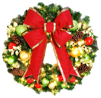 3FT Classic Decor Wreath with Red Bow