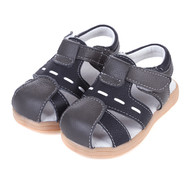 Boys Black Genuine Leather Sandal.