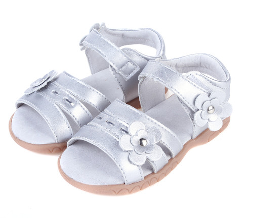 Girls Silver Genuine Leather Open Sandal.