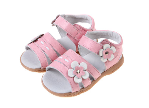 Girls Pink Genuine Leather Sandal with White Flower.